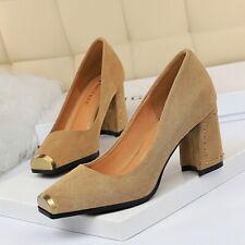 Women Suede Sandals Square Toe Mid Heels Fashion Ladies Block Pumps Party Shoes