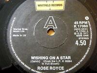 "ROSE ROYCE - WISHING ON A STAR  7"" VINYL"