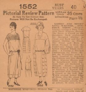 1923 Factory Folded Pictorial Review Ladies & Misses Long-Waisted Dress Pattern