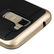 For LG K10 /L62VL (Premier LTE) PHONE BLACK GOLD Frame SKIN Protector CASE Cover