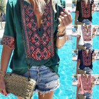 Boho Ladies Plus Size Short Sleeve Floral Tops Shirt Sexy V Neck Beach Blouses
