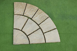 90 degree corner / Quarter circle patio yorkshire buff stone set 900mm