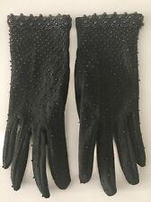 Vintage Black Beaded Knit Gloves, Medium
