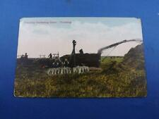 POSTCARD CANADIAN HARVESTING SCENE THRESHING FARMING WHEAT GRAIN MACHINE