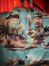 KULA BAY HAWAIIAN SHIRTS  VINTAGE BOATS PALMS! SIZE M!100% COTTON!MADE IN HAWAII