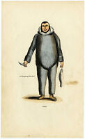 C. 1850, Antique wood engraving in contemp. coloring, an Eskimo