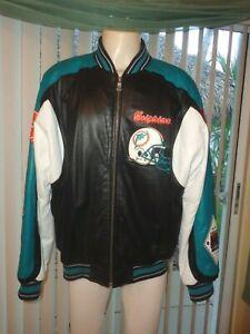 Miami Dolphins Vintage Leather Jacket Carl Banks GIII Quaterback Club Size Large