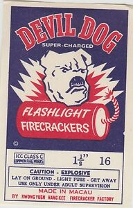 Vintage Devil Dog Firecracker Pack Label