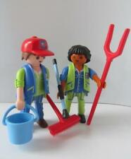 Playmobil male zoo keeper figures with bucket & tools NEW