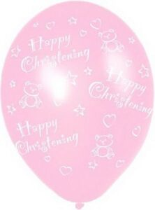 "6 x 11"" Pink Christening Latex Balloons Baby Girl Baby Shower Party Decorations"