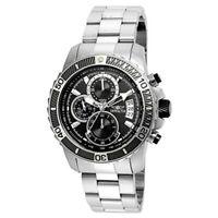 Invicta 22412 Men's Pro Diver Steel Bracelet & Case Quartz Black Dial Watch