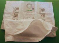 Festool 496186 Dust Extractor REUSABLE Filter Bag With Zip SC FIS CT CTL CTM 36