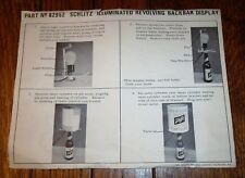 1967 Schlitz Beer Lighted Heat Lamp Rotating Motion Sign Orig Paper Instructions