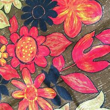 Vtg curtain panel fabric MOD retro large floral orange brown tulips daisy 83x78""