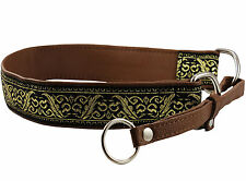 "Genuine Leather 1.5"" wide Martingale Dog Collar Choker Fits 19,5""-23"" neck"