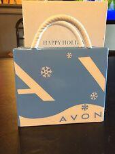 New AVON Blue Ceramic Gift Bag Business Card Pencil Holder Snowflake Christmas