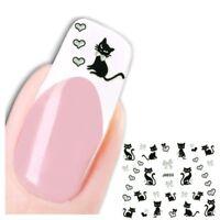 3D Nagel Sticker Katze Cat Schleife Heart Aufkleber Nail Art