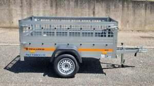 NEW CAR TRAILER SINGLE AXLE 6'7 x 3'6 750kg MESH SIDES
