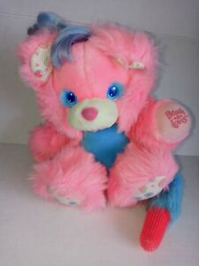 Rare Vintage 1987 Brush A Loves Plush Bear Beauty Berry Pink Tyco GREAT COLOR