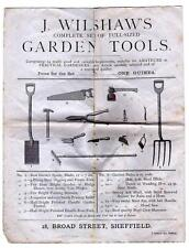 1879 Two page advert for Wilshaw's Tools in Broad Street Sheffield