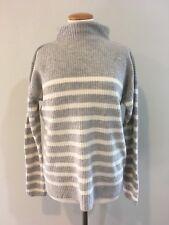 Ann Taylor With Cashmere Women's M Medium Mock Turtleneck Sweater Gray Stripes
