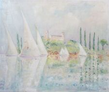 French Oil Painting, Sailing Boats, Cannes, French Riviera, Impressionist, 1991