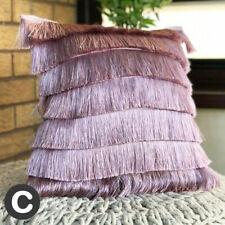 Luxury Layered Art Deco Fringed Flapper Dusky Blush Pink Filled Cushion 43cm
