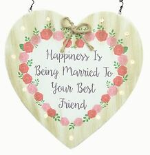 Shabby Chic Wooden Heart Light Up LED Wedding Hanger Decoration Keepsake Sign