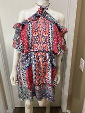 Parker Shoulder Off Silk women's size 12 Summer Pop In Mini Dress New