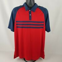 Men's Adidas Climacool 3 Stripe Red and Blue Polo Golf Shirt Size L