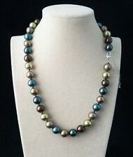 10mm Natural South Sea Multicolor Shell Pearl Round Beads Necklace 18'' AAA