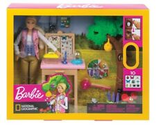 New National Geographic Barbie Entomologist Doll & Accessory Playset Set Insects