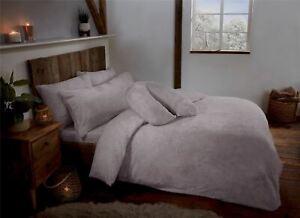 Silver Grey Teddy Fleece Fur Soft Cosy Duvet Quilt Cover Set Inc Pillowcases