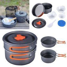 8Pcs Portable Outdoor Cooking 1 Set Camping Hiking Cookware Picnic Bowl Pot Pan