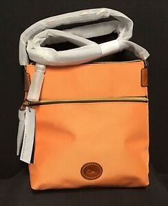 Dooney & Bourke Crossbody Bag Nylon Apricot Melon with Saddle Leather Trim  NWT