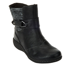 Clarks Leather Ankle Boots w/ Knit Panel - Fianna Adley Black Women's Size 6 New