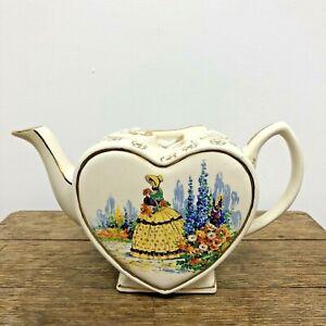 Rare Vintage Heart Shaped Tea Pot: Yellow Dress Crinoline Lady Golden Key Lid