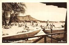 RPPC Diamond Head Outrigger Canoe Club Waikiki Hawaii Surfing ca 1940s Postcard