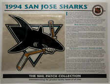 1994 San Jose Sharks Patch w Stat Card Official NHL Collection Willabee & Ward