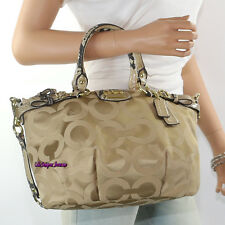 New Coach Madison Op Art Sophia Shoulder Bag Hand Bag 18650 Khaki Natural RARE