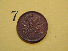 1942 Canada Canadian Small 1c (One) Cent Coin,  Penny