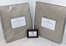 "POTTERY BARN SET OF 2 LINEN BORDER SHEER DRAPES  50"" x 84"" NATURAL TAN WHITE NEW"