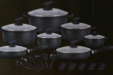 Batteria di pentole Bavaria 30 pezzi in pietra nera con coperchio in vetro. B340