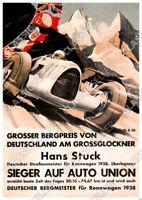 Auto Union Sieg Großer Bergpreis Deutschland Hans Stuck 1938 Poster Plakat Renn