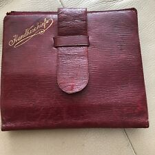 Antique Handkerchief Case Red Leather Embossed Edwardian 1910s Mens Ladies Old