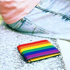 Handmade Bifold LGBT Gay Pride Calf Leather Wallet 8 Card Slots Free Shipping