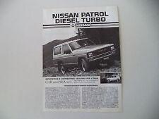 advertising Pubblicità 1986 NISSAN PATROL DIESEL TURBO