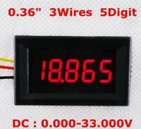 "5 pcs DC 0-33.000V 33V Voltage Panel Meter 0.36"" LED 3 Wires 5 Digital Voltmeter"