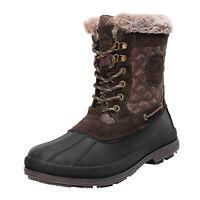 NORTIV 8 Men's Outdoor Work Boots Winter Suede Leather Waterproof Snow Boots
