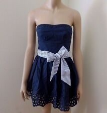 NWT Hollister Womens Eyelet Strapless Dress Size XS Small Navy Blue Striped Bow